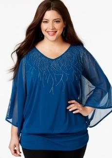 Alfani Plus Size Angel-Sleeve Embellished Chiffon Blouse, Only at Macy's
