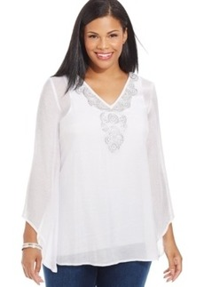 Alfani Plus Size Angel-Sleeve Embroidered Top