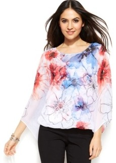 Alfani Plus Size Angel-Sleeve Floral Blouson Top