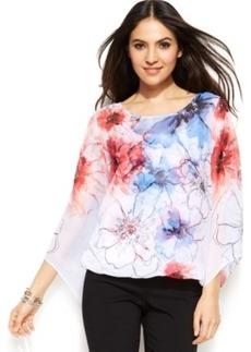 Alfani Plus Size Angel-Sleeve Floral Blouson Top