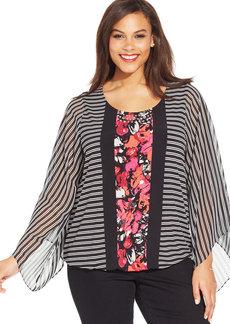 Alfani Plus Size Angel-Sleeve Mixed-Print Blouson Top