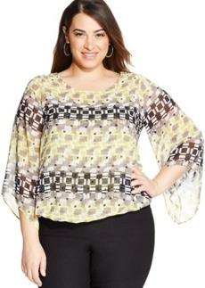 Alfani Plus Size Angel-Sleeve Printed Blouson Top