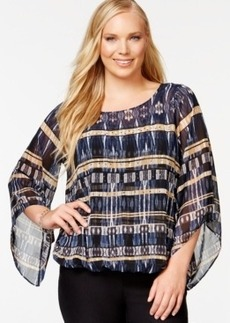 Alfani Plus Size Angel-Sleeve Printed Blouson Top, Only at Macy's