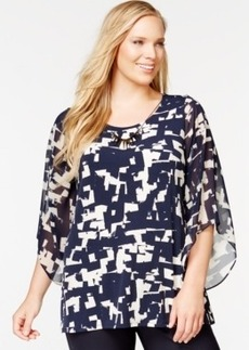 Alfani Plus Size Angel-Sleeve Printed Necklace Top, Only at Macy's