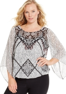 Alfani Plus Size Angel-Sleeve Printed Top, Only at Macy's