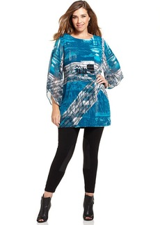 Alfani Plus Size Angel-Sleeve Printed Tunic