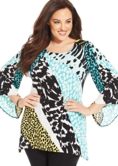 Alfani Plus Size Angel-Sleeve Printed Tunic