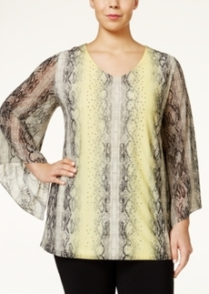 Alfani Plus Size Angel-Sleeve Snakeskin-Print Top, Only at Macy's