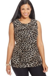 Alfani Plus Size Animal-Print Pleat-Neck Top