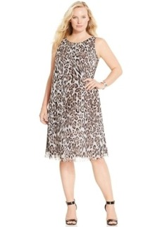 Alfani Plus Size Animal-Print Trapeze Dress, Only at Macy's