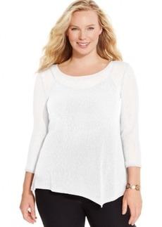 Alfani Plus Size Asymmetric-Hem Knit Top, Only at Macy's
