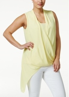Alfani Plus Size Asymmetric-Hem Surplice Top, Only at Macy's