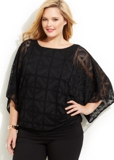 Alfani Plus Size Batwing-Sleeve Mesh Top