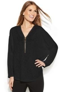 Alfani Plus Size Batwing-Sleeve Zip-Neck Blouse