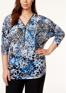 Alfani Plus Size Batwing-Sleeve Zip-Neck Top, Only at Macy's