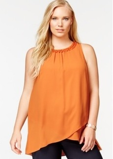 Alfani Plus Size Bead-Trimmed Petal-Hem Shell, Only at Macy's