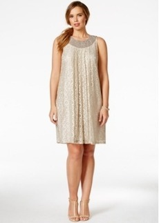 Alfani Plus Size Beaded-Collar Lace A-Line Dress, Only at Macy's