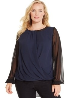 Alfani Plus Size Beaded Crossover Top, Only at Macy's