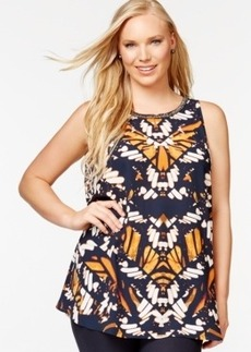 Alfani Plus Size Beaded Printed Sleeveless Shell, Only at Macy's