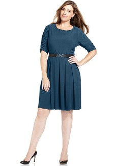 Alfani Plus Size Belted A-Line Dress