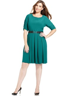 Alfani Plus Size Belted A-Line Dress