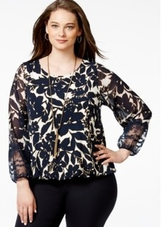 Alfani Plus Size Bishop-Sleeve Floral-Print Blouson Top, Only at Macy's