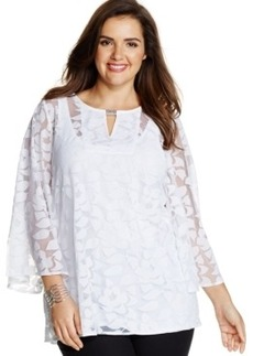 Alfani Plus Size Burnout Peasant Top