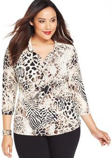 Alfani Plus Size Cap-Sleeve Animal-Print Shirt