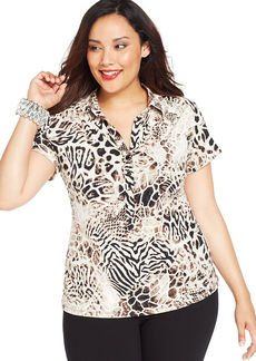Alfani Plus Size Cap-Sleeve Animal-Print Shirt
