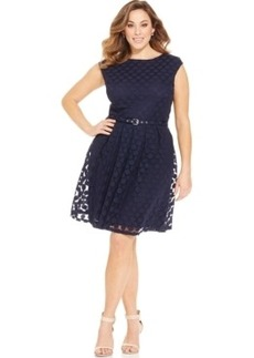 Alfani Plus Size Cap-Sleeve Dot-Print Belted Dress