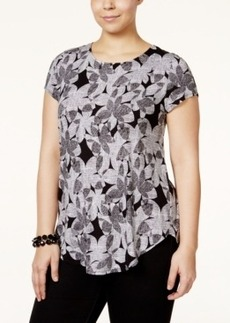 Alfani Plus Size Cap-Sleeve Floral-Print T-Shirt, Only at Macy's