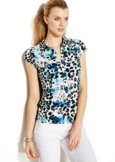 Alfani Plus Size Cap-Sleeve Leopard-Print Polo