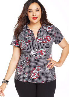 Alfani Plus Size Cap-Sleeve Printed Shirt