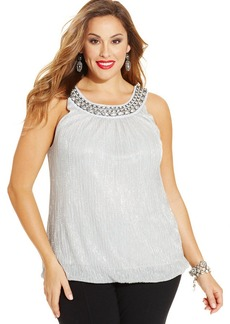 Alfani Plus Size Chain-Trim Metallic Halter Top