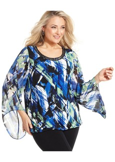 Alfani Plus Size Chain-Trim Printed Blouson Top