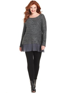 Alfani Plus Size Chiffon-Hem Sequin Sweater