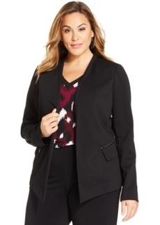 Alfani Plus Size Collarless Open-Front Jacket