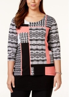 Alfani Plus Size Colorblocked Printed Top, Only at Macy's