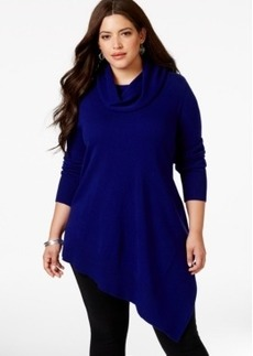 Alfani Plus Size Cowlneck Asymmetric-Hem Sweater-Knit Top, Only at Macy's