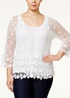 Alfani Plus Size Crochet Lace Cardigan, Only at Macy's