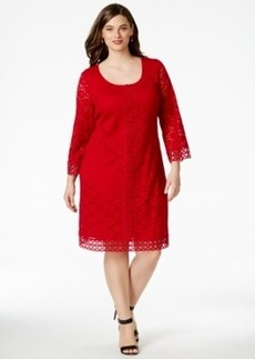 Alfani Plus Size Crochet-Trim Lace Dress, Only at Macy's