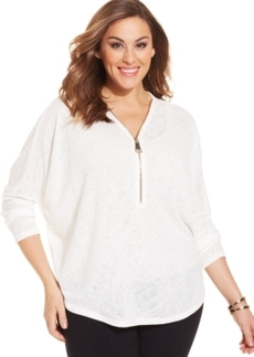 Alfani Plus Size Dolman-Sleeve Half-Zip Top