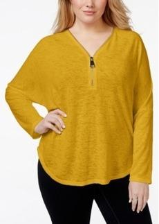Alfani Plus Size Dolman-Sleeve Half-Zip Top