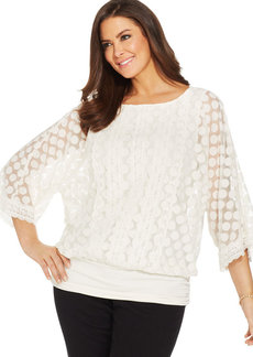 Alfani Plus Size Dolman-Sleeve Lace Blouson Top