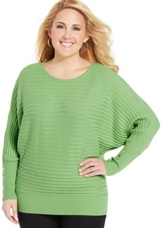 Alfani Plus Size Dolman-Sleeve Rib-Knit Sweater