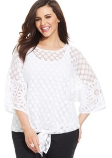 Alfani Plus Size Dot-Lace Tie-Front Top