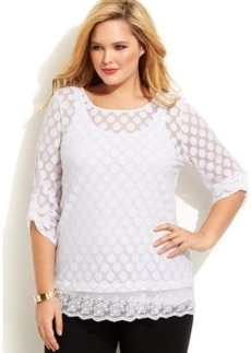 Alfani Plus Size Dot-Print Lace-Hem Tunic