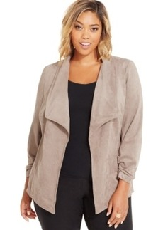 Alfani Plus Size Drape-Collar Faux-Suede Jacket, Only at Macy's