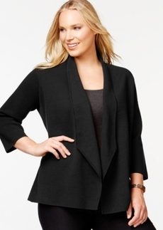Alfani Plus Size Dropped-Lapel Knit Sweater Jacket, Only at Macy's