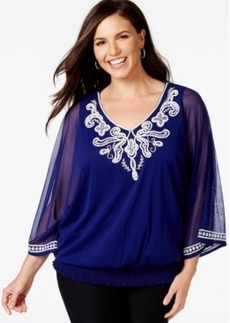 Alfani Plus Size Embellished Chiffon Blouson Top, Only at Macy's